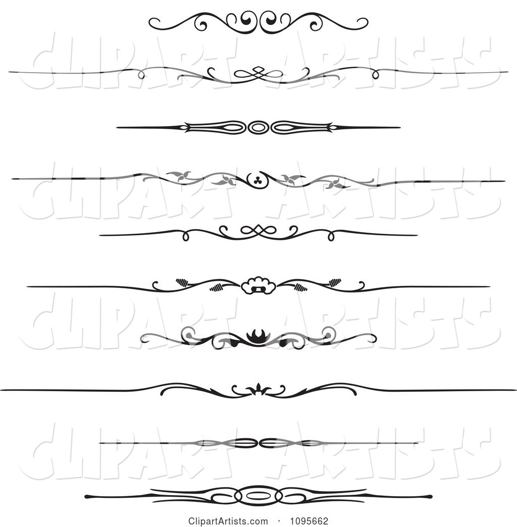 Black and White Rule Border Design Elements 1
