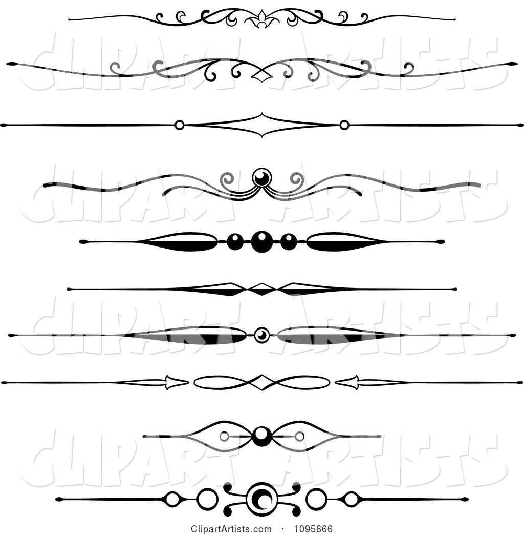 Black and White Rule Border Design Elements 5