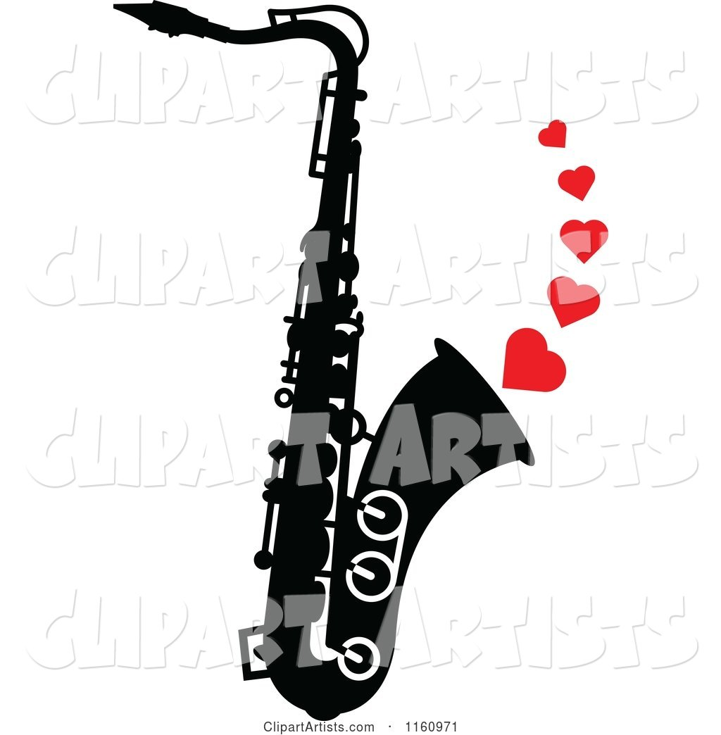 Black and White Saxophone with Red Hearts
