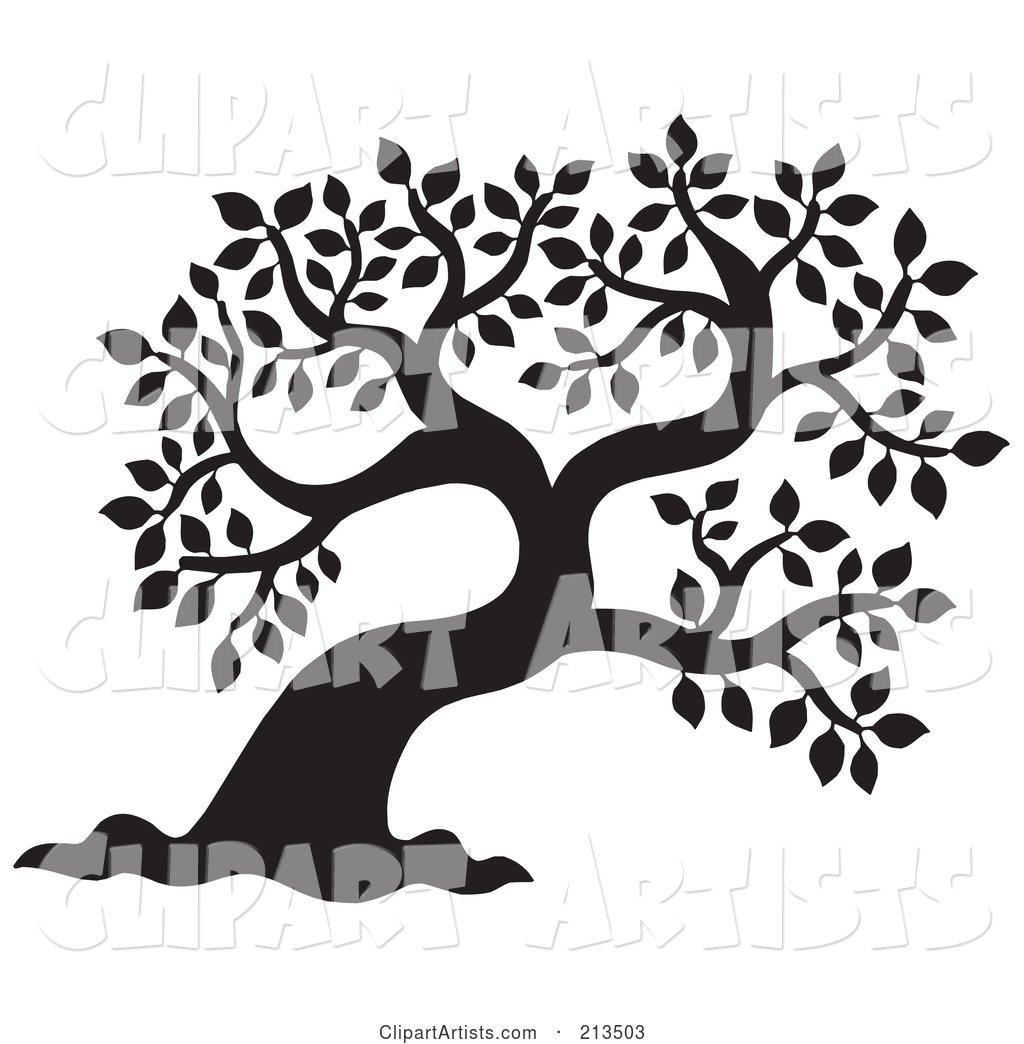 Black and White Silhouetted Leafy Tree Design - 1