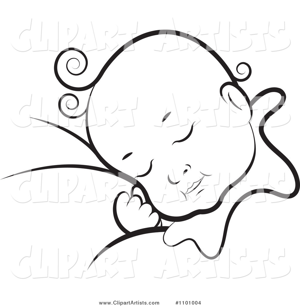 Black And White Baby Sleeping: Black And White Sleeping Baby Clipart By Lal Perera (tikiri