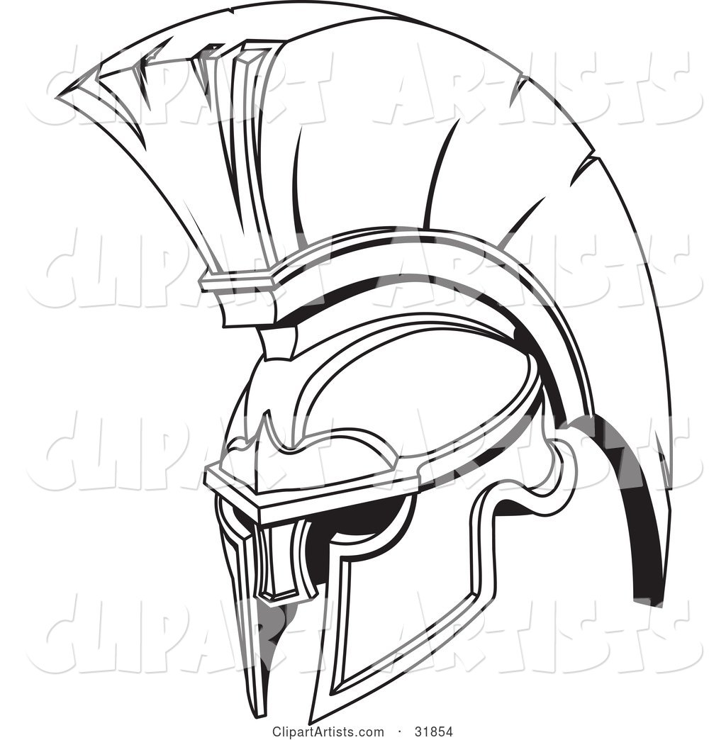 Black and White Spartan or Trojan Helmet, Part of Body Armor