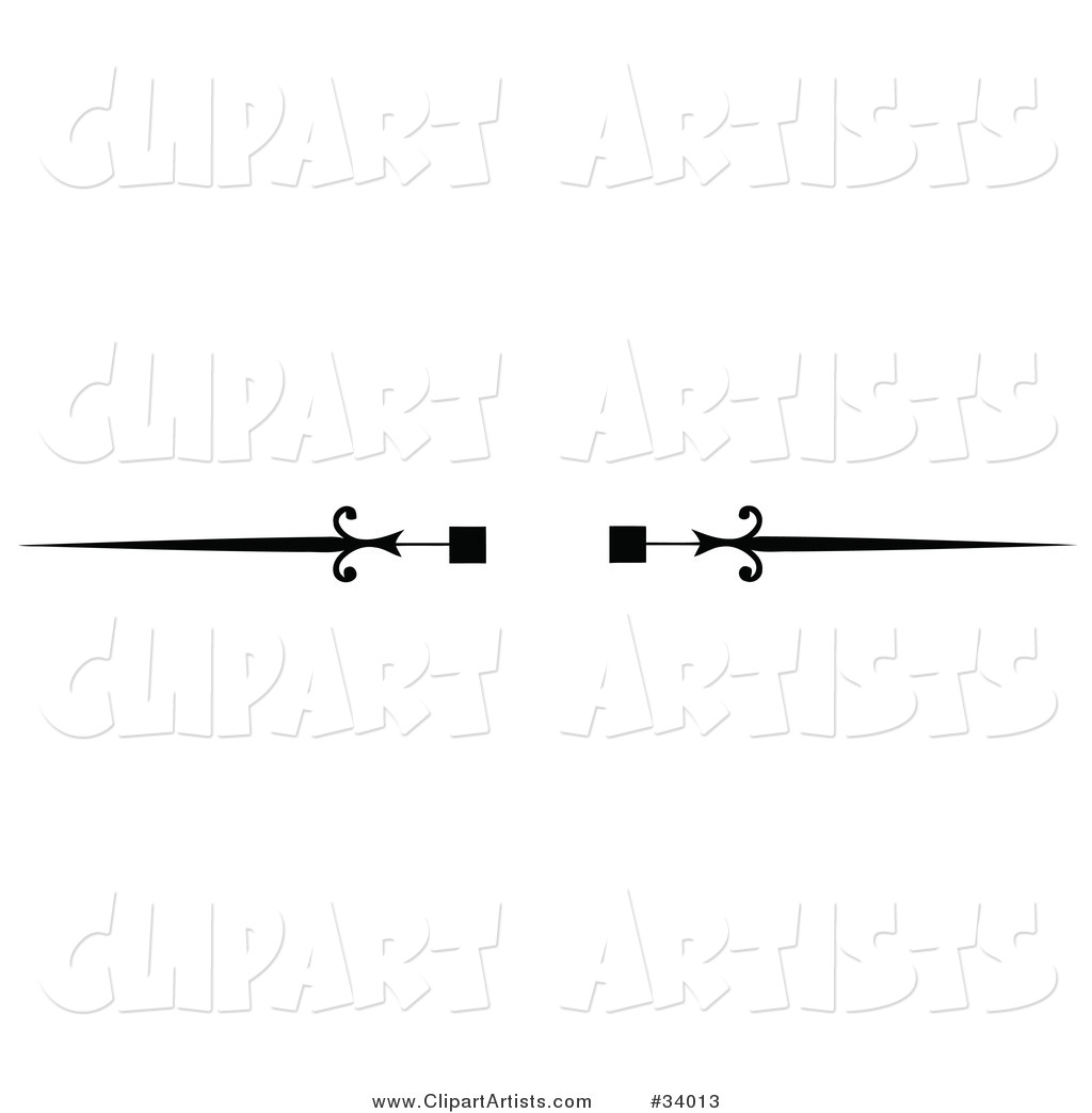Black and White Square and Spear Header, Divider, Banner or Lower Back Tattoo Design