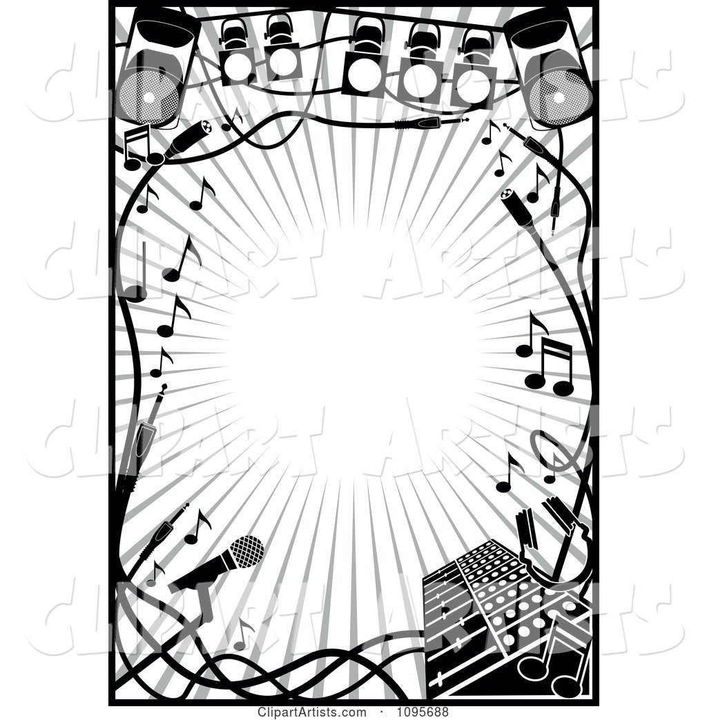 Black And White Stage Lighting And Music Frame Clipart by Frisko ...