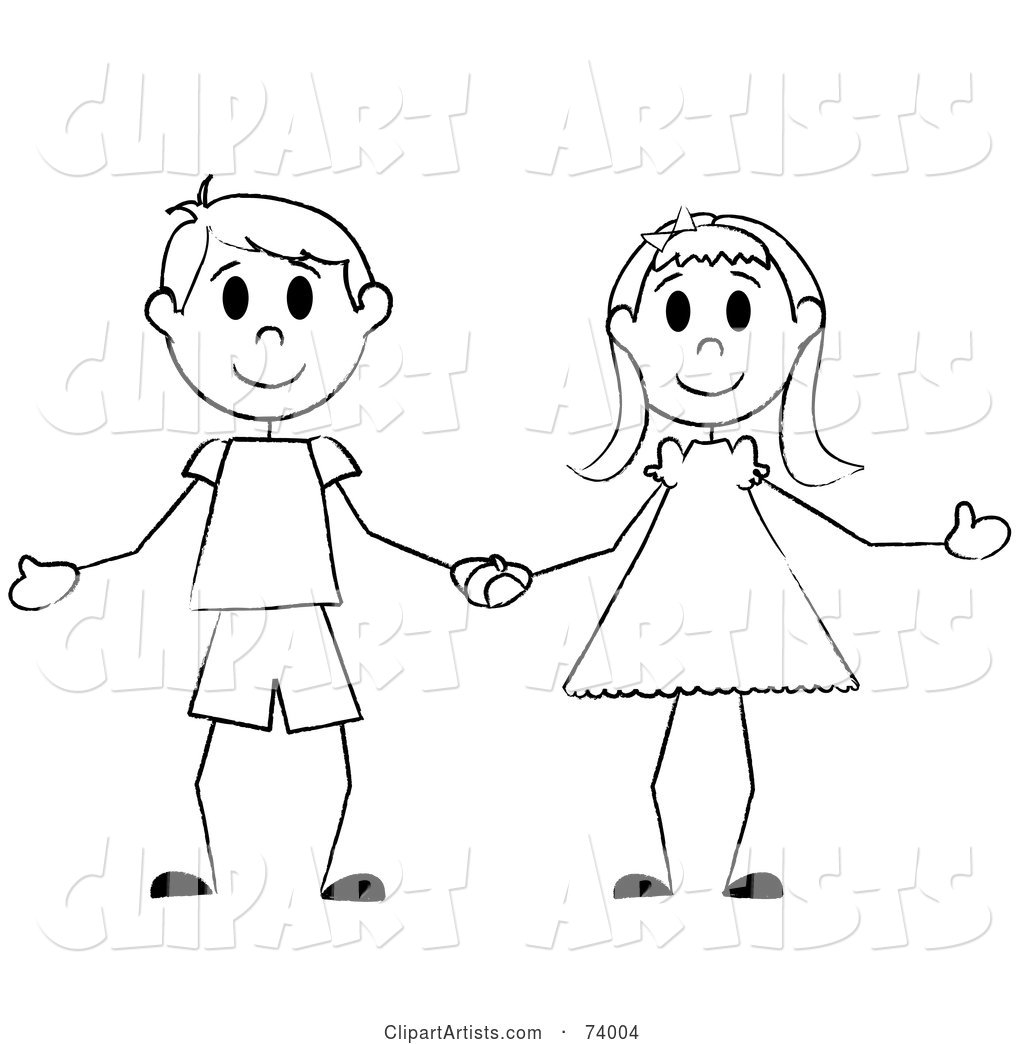 Black and White Stick Boy and Girl Holding Hands