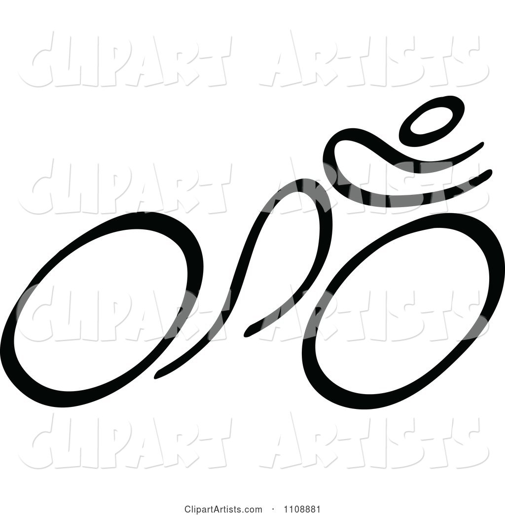 Black and White Stick Drawing of a Cyclist