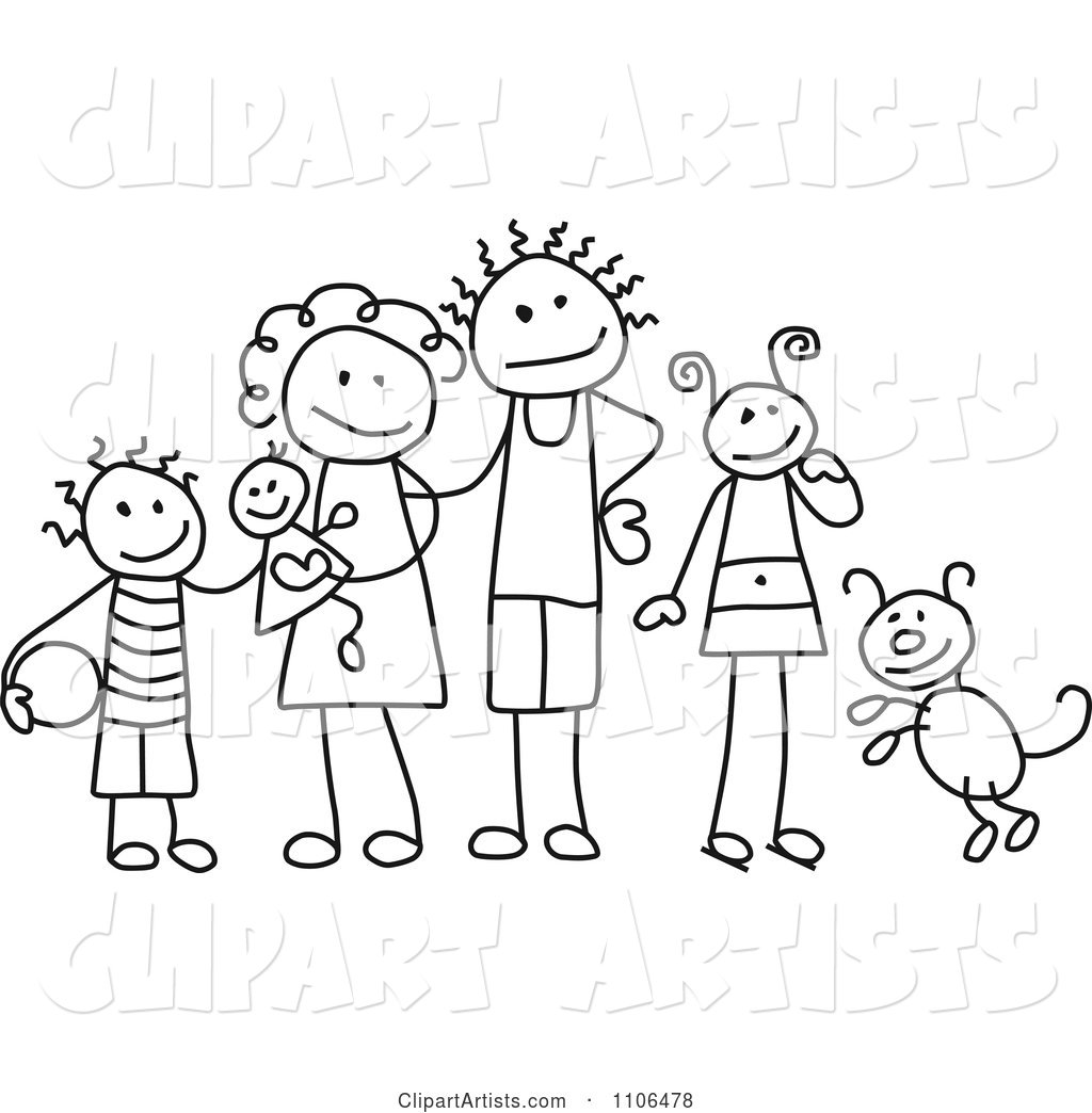 Black and White Stick Drawing of a Happy Family with Their Dog