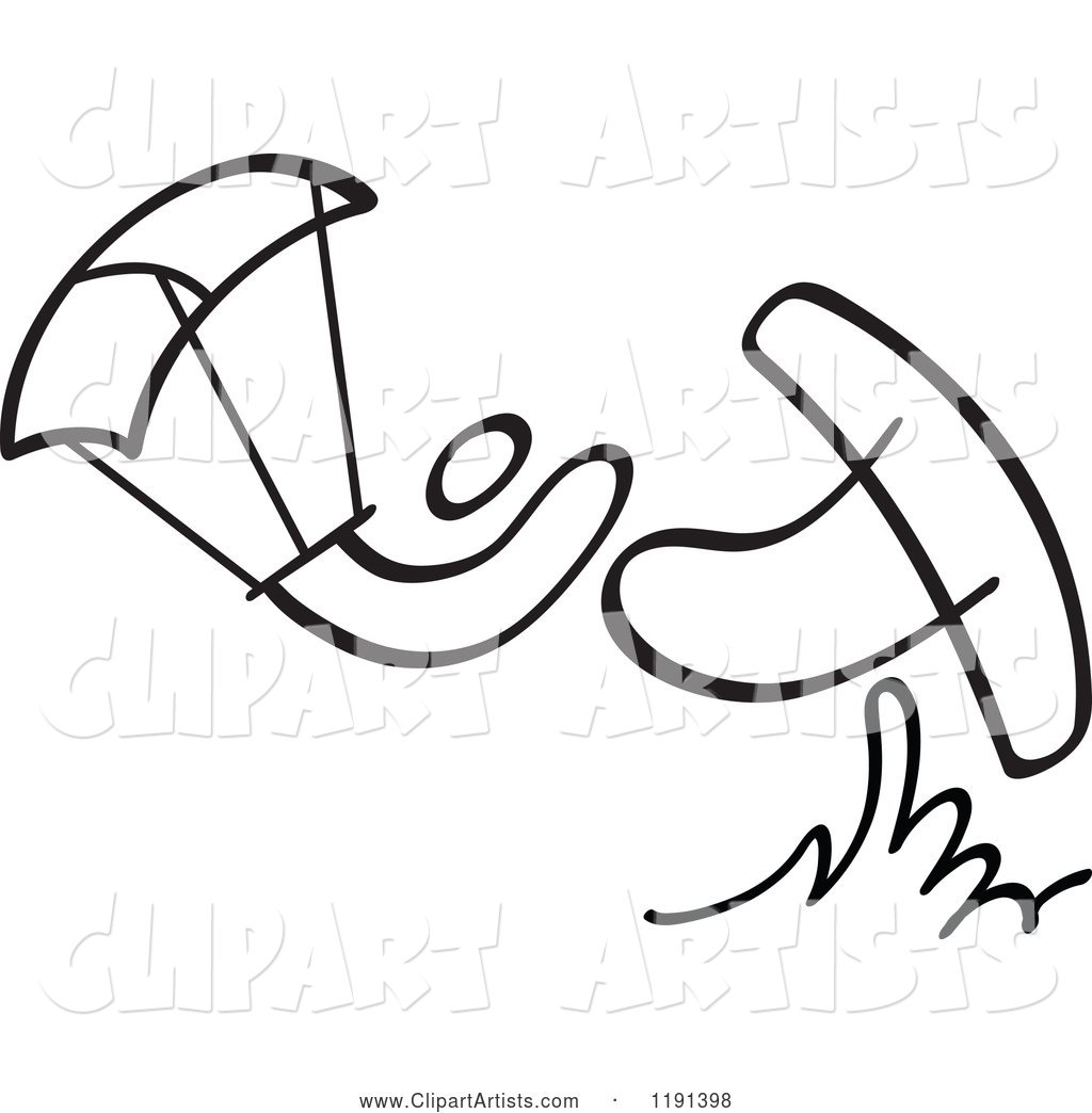 Black and White Stick Drawing of a Person Kite Surfing