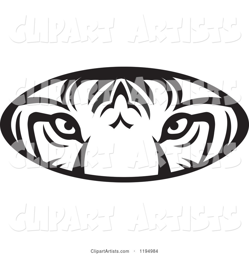Black and White Tiger Eyes Oval