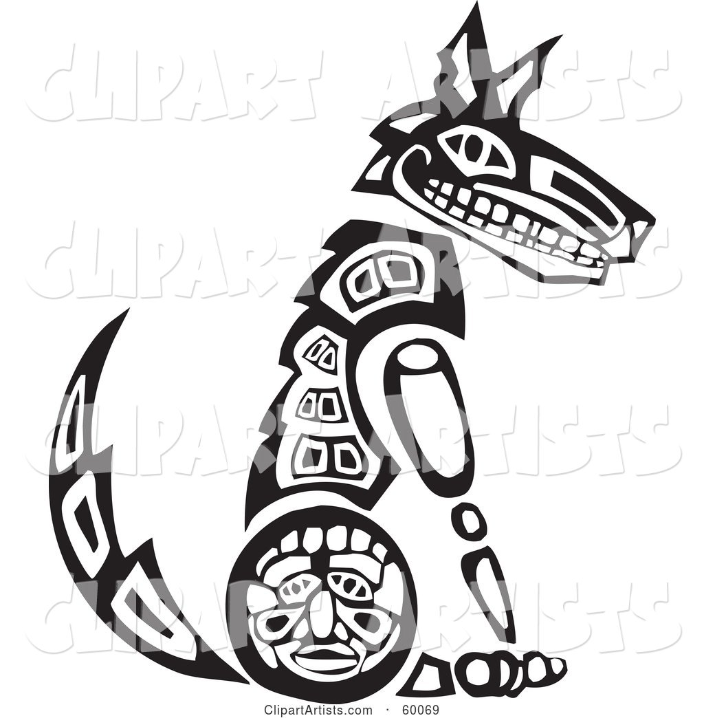 Black and White Tribal Coyote Sitting Upright