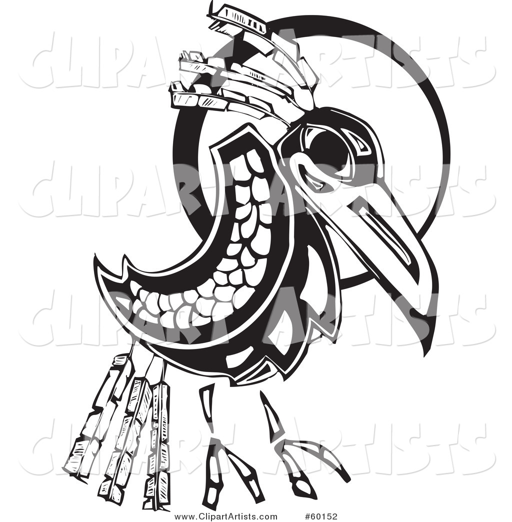 Black and White Tribal Raven in Front of a Moon