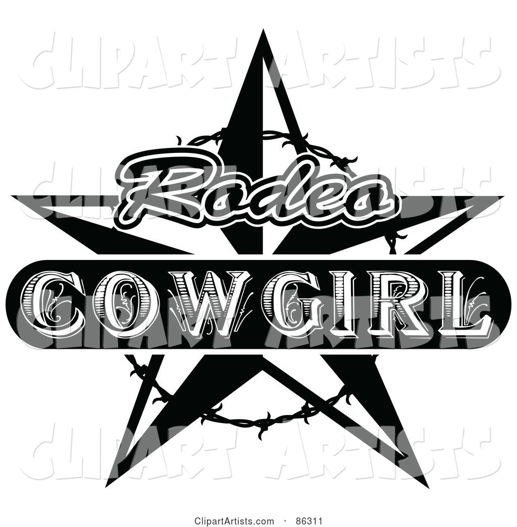 Black and White Vintage Styled Rodeo Cowgirl Star with Barbed Wire