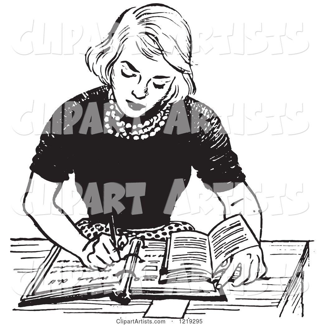black and white vintage teenage girl doing homework at a desk