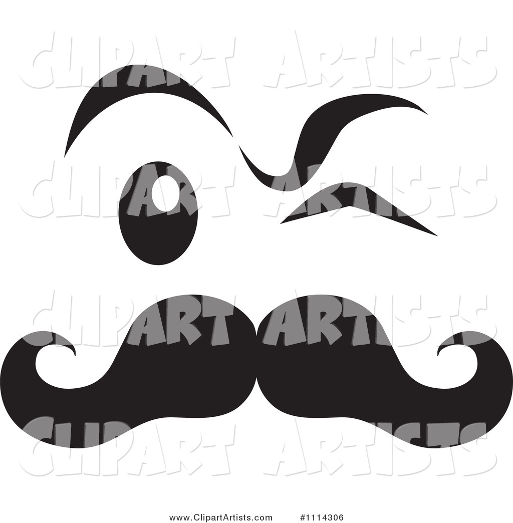 Black and White Winking Face with a Mustache
