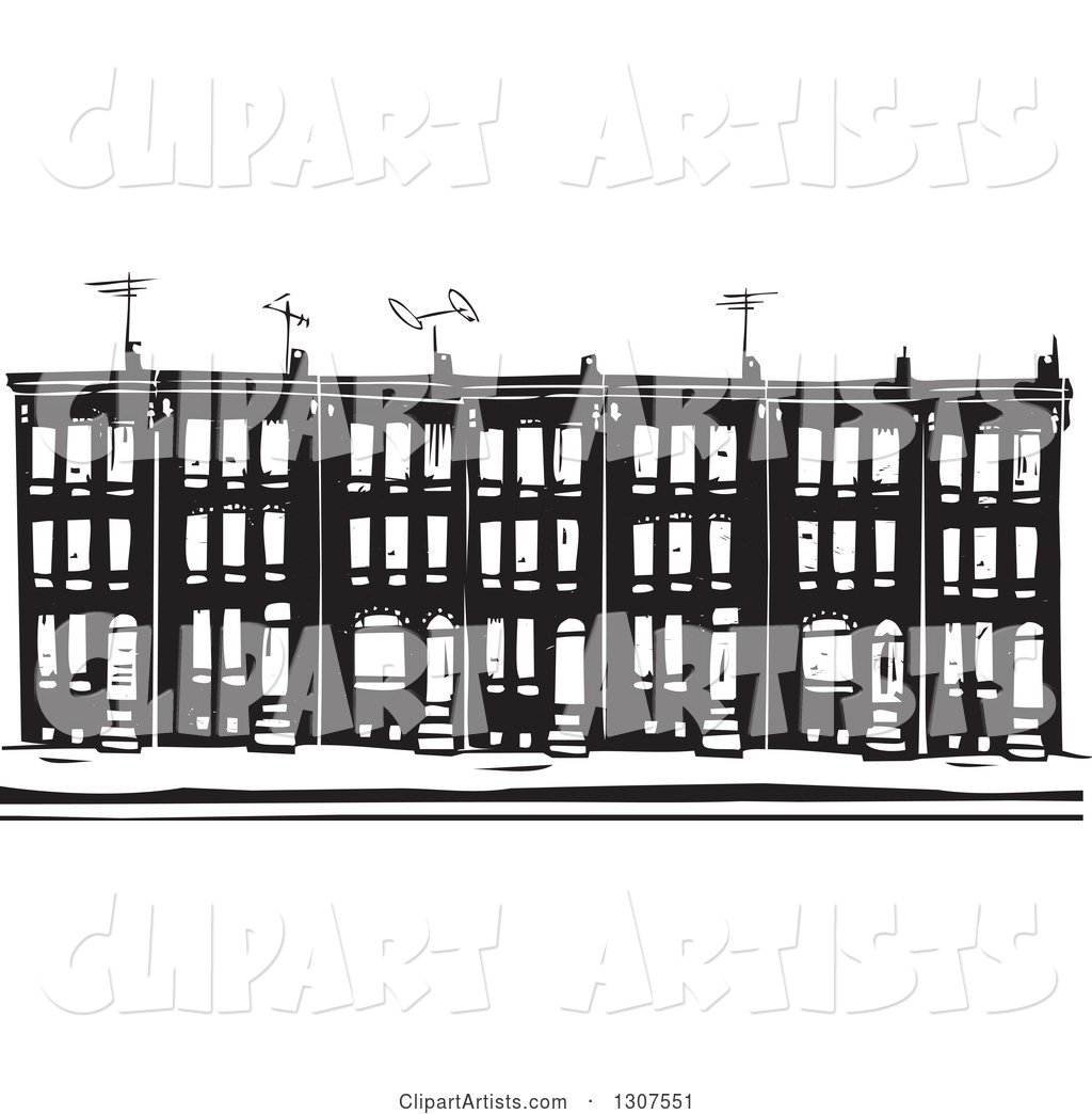 Black and White Woodcut Baltimore Ghetto Row House Town Home