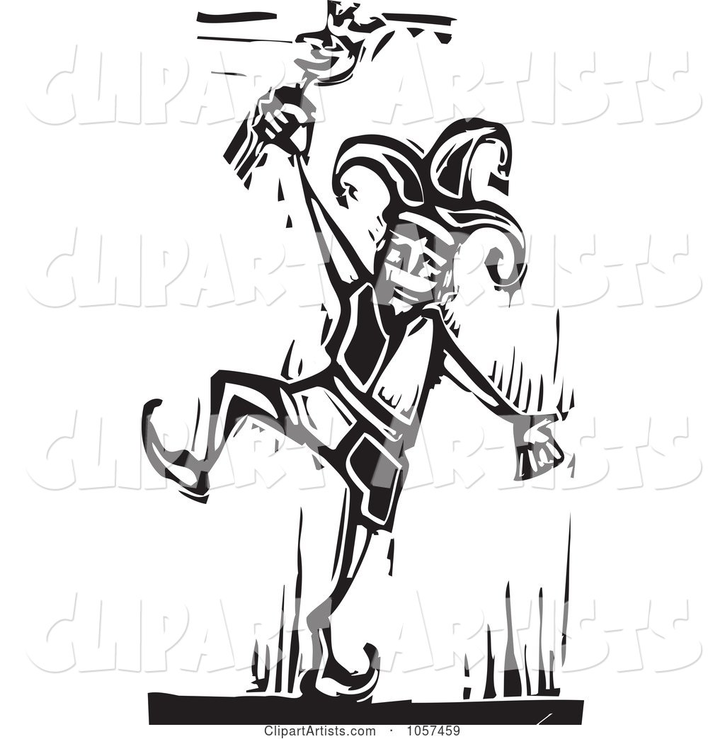 Black and White Woodcut Styled Dancing Jester