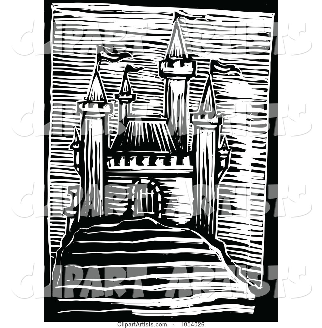 Black and White Woodcut Styled Medieval Castle