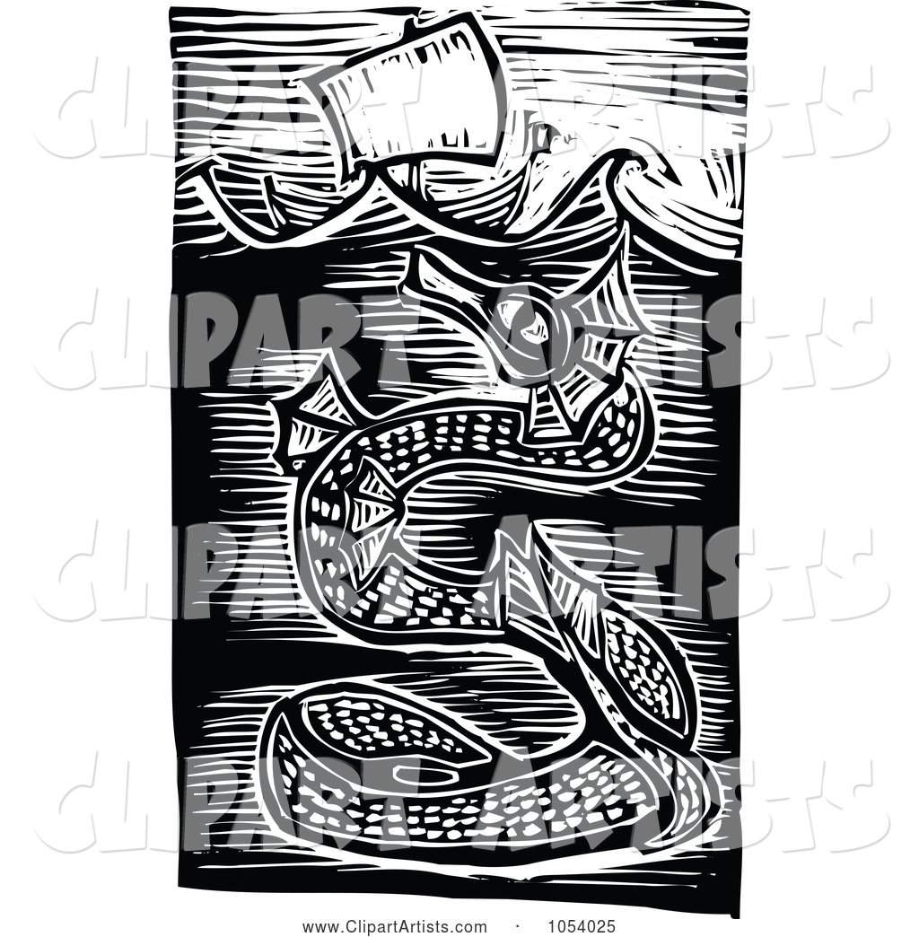 Black and White Woodcut Styled Sea Serpent Under a Ship
