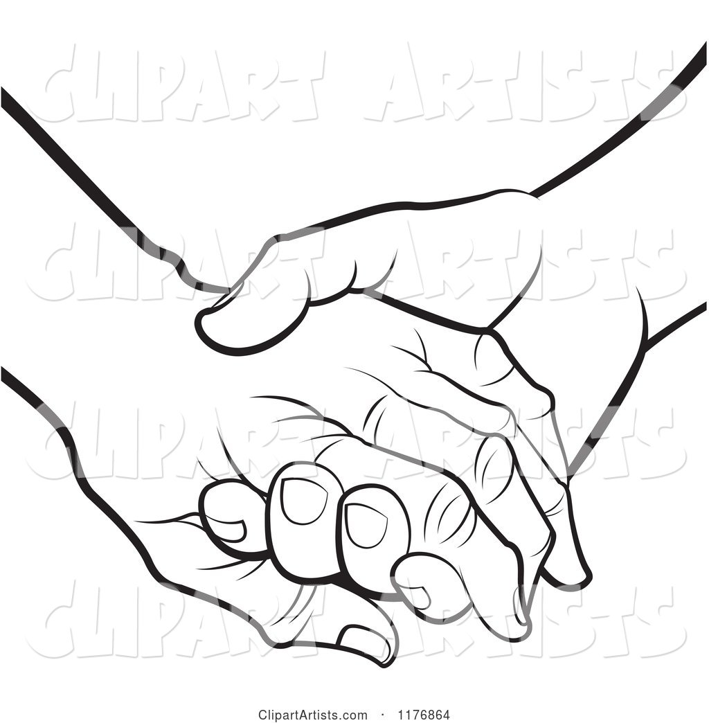 Black and White Young Hand Holding a Senior Hand