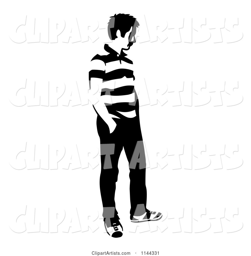 Black and White Young Man Standing and Waiting 3