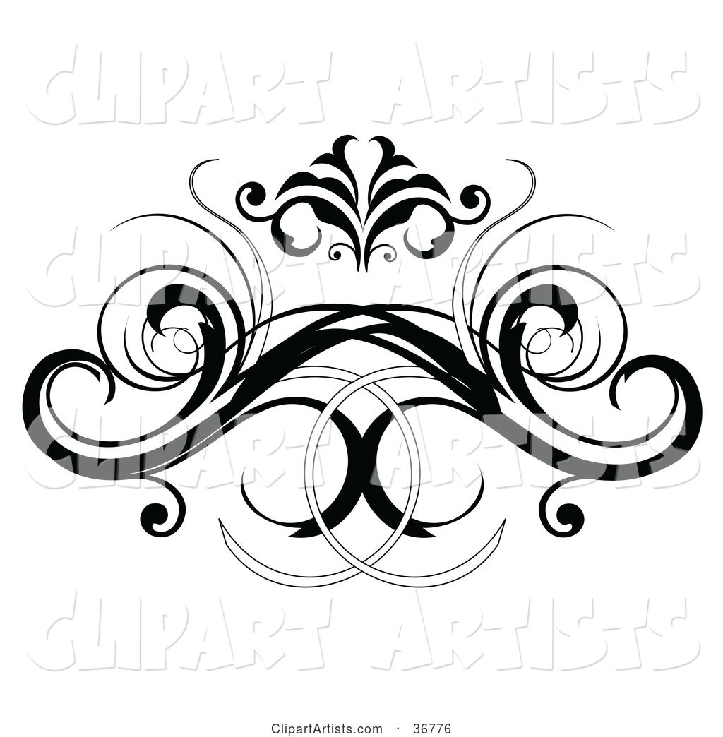 Black Decorative Design Element or Back Tattoo