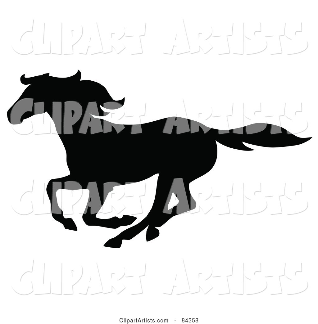 Black Galloping Horse Silhouette