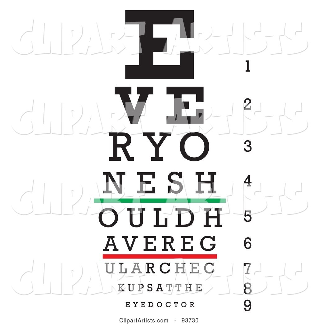 Black, Green and Red Eye Chart for Checkups, on White