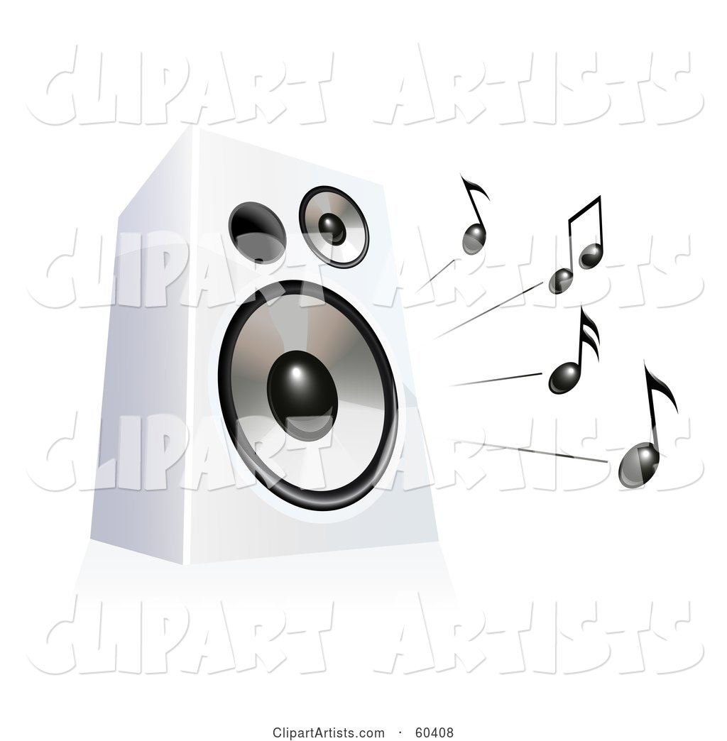 Black Music Notes Blaring from a White Speaker