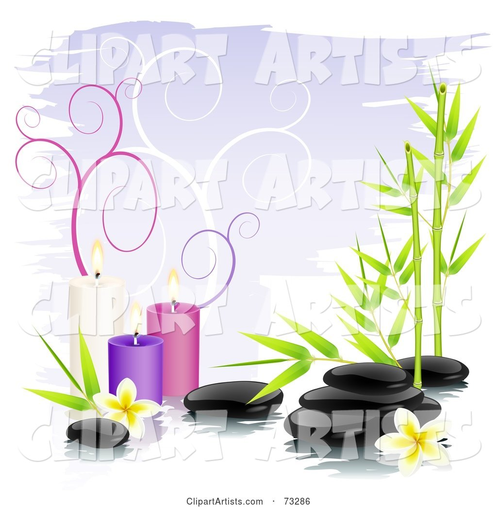 Black Shiny Spa Stones with Bamboo, Frangipani Flowers and Colorful Candles over Purple with Spirals
