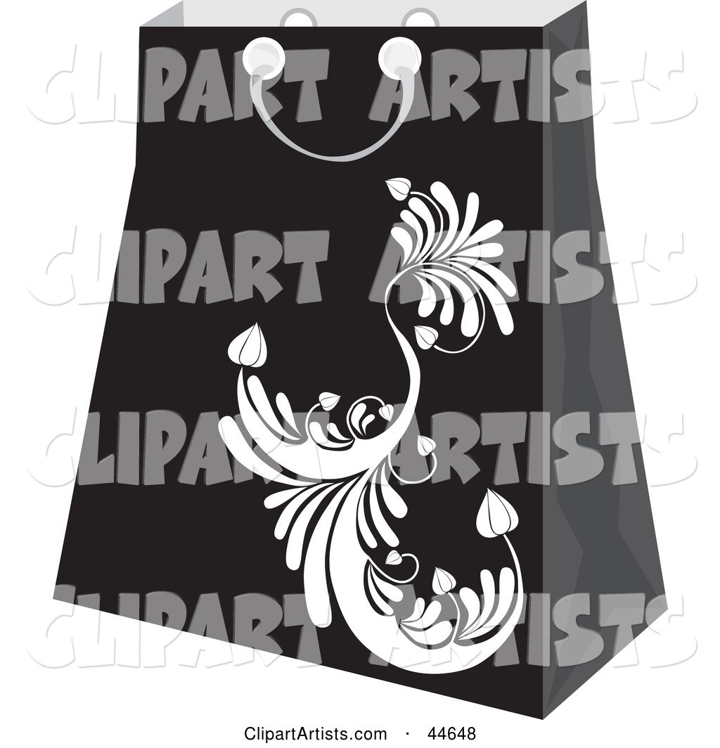 Black Shopping Bag with a White Scroll Design