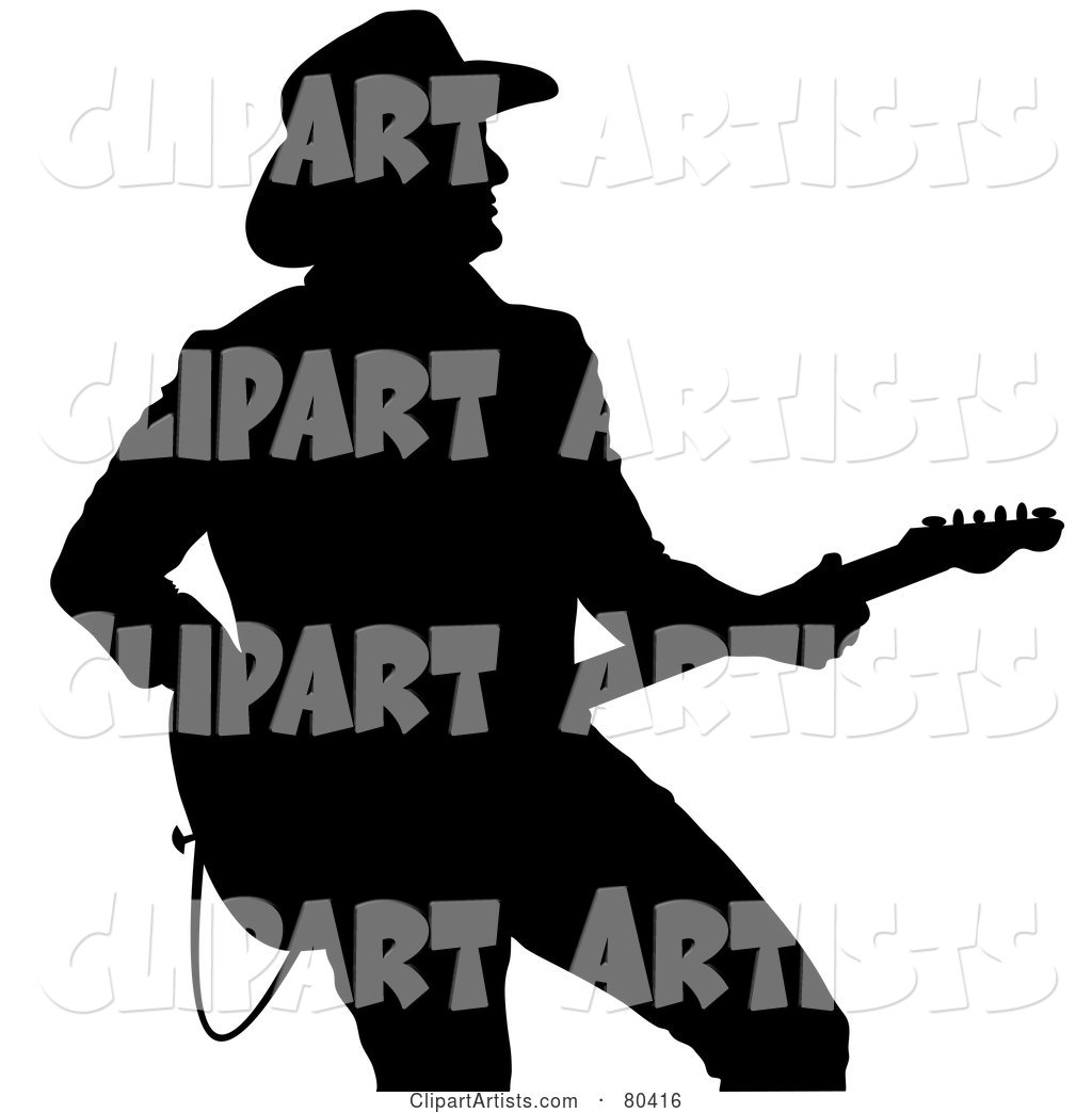 Black Silhouette of a Country Western Music Guitarist