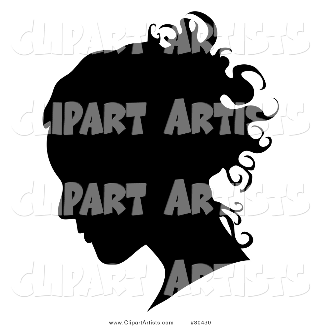 Black Silhouette of a Woman's Profiled Face on White