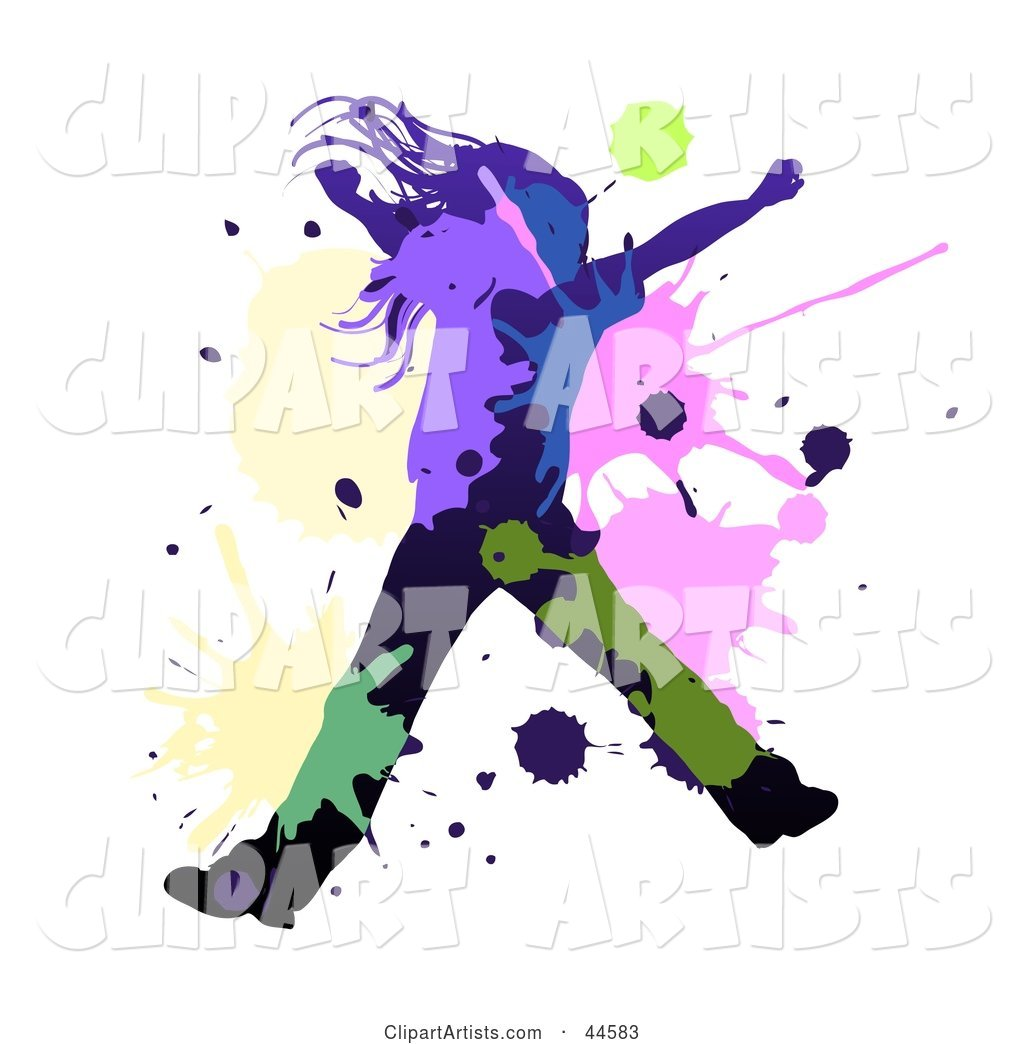 Black Silhouetted Girl Dancing or Leaping, with Colorful Splatters