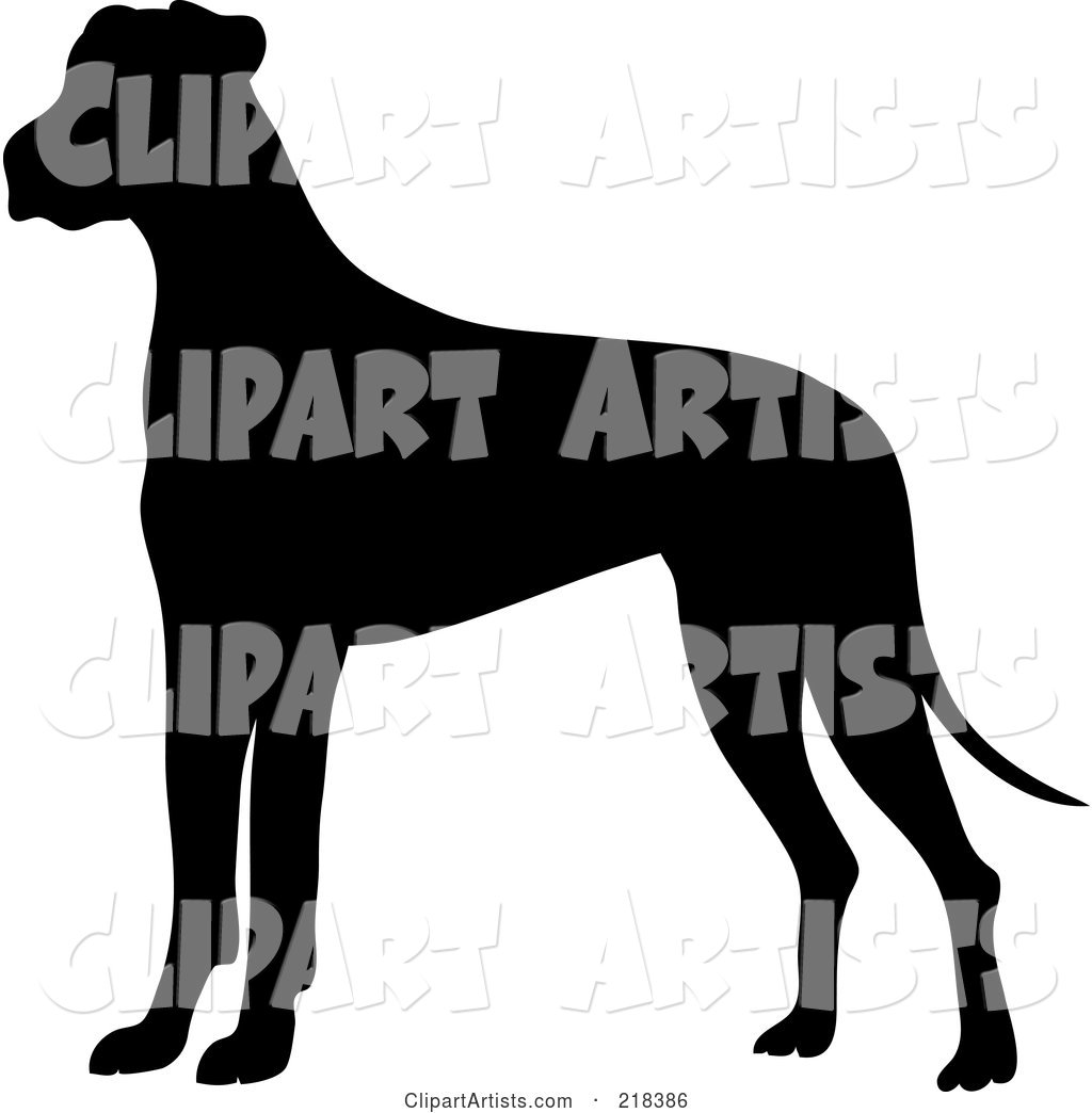 Black Silhouetted Great Dane Dog in Profile
