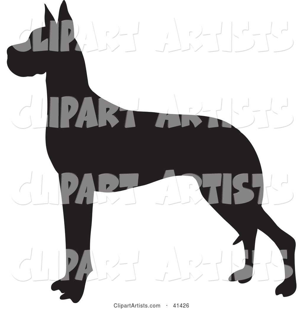 Black Silhouetted Great Dane Dog Profile