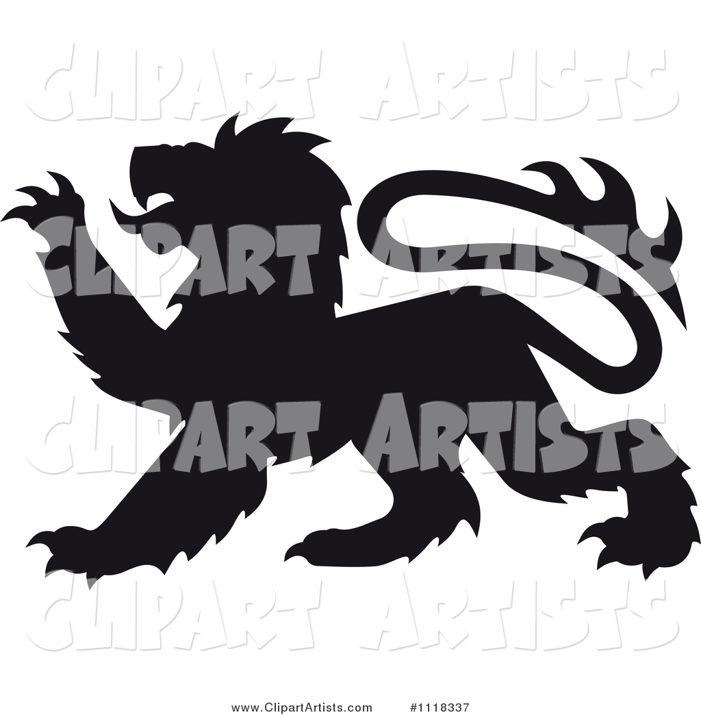 Black Silhouetted Heraldic Lion Clawing