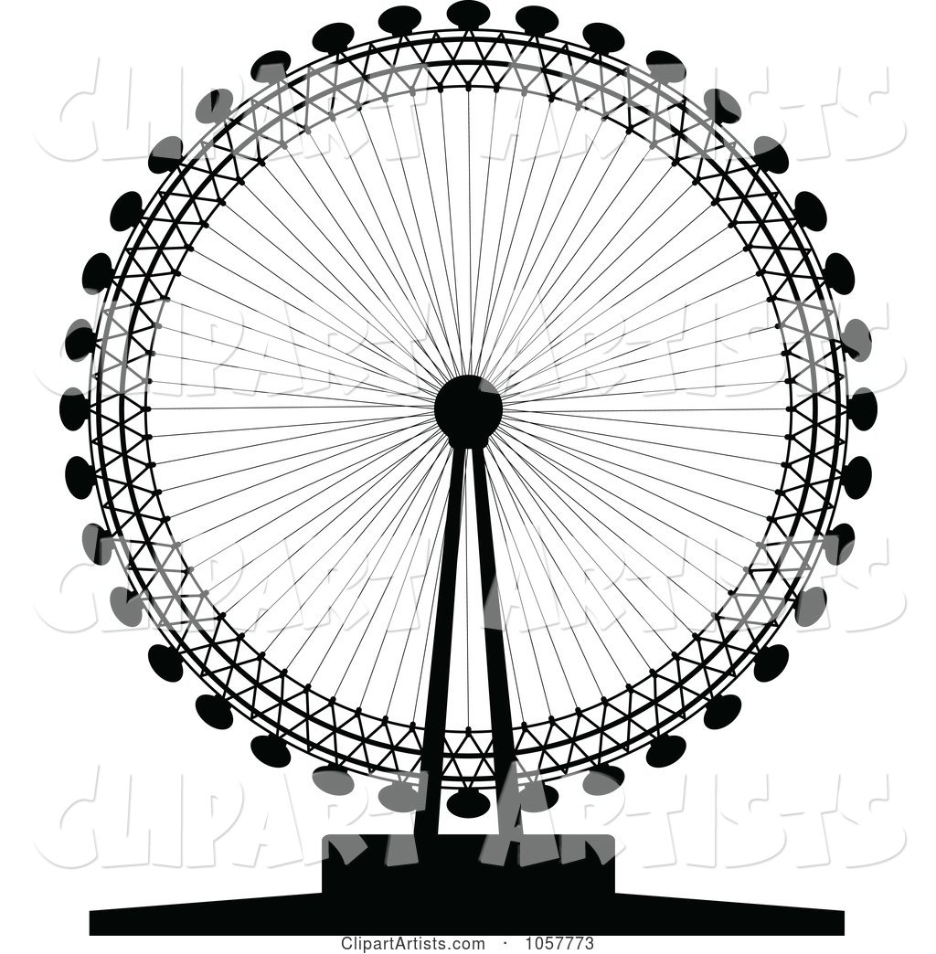 Black Silhouetted London Eye