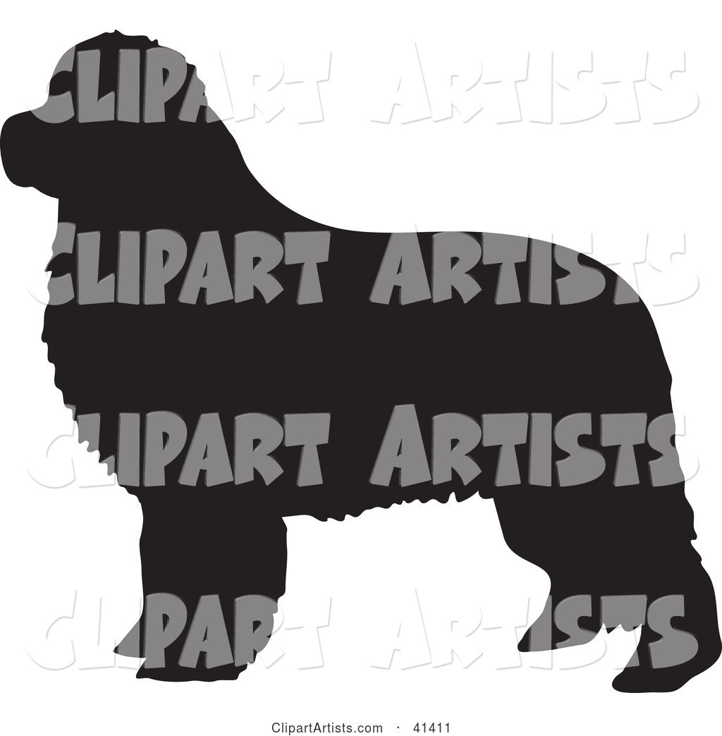 Black Silhouetted Newfoundland Dog Profile