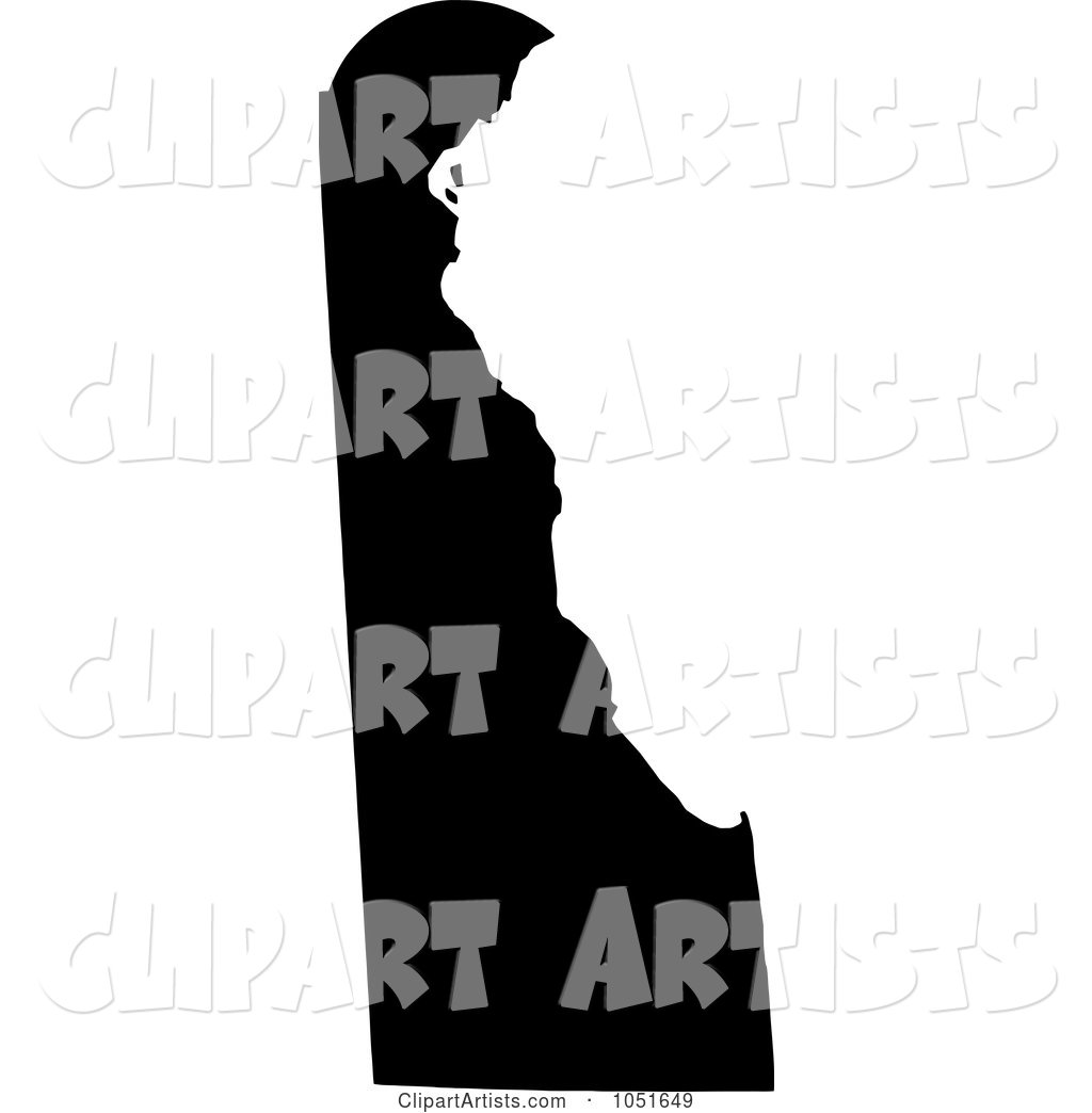Black Silhouetted Shape of the State of Delaware, United States