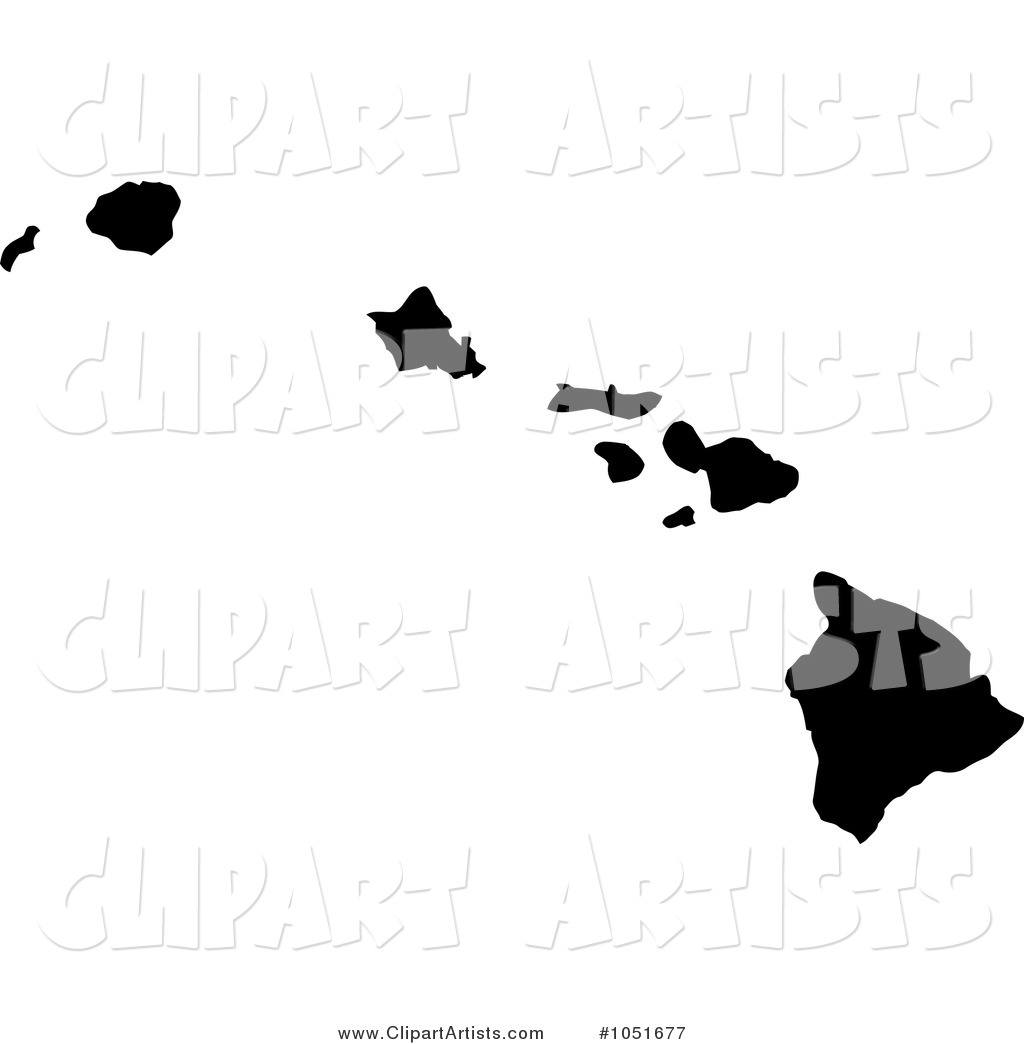 Black Silhouetted Shape of the State of Hawaii, United States