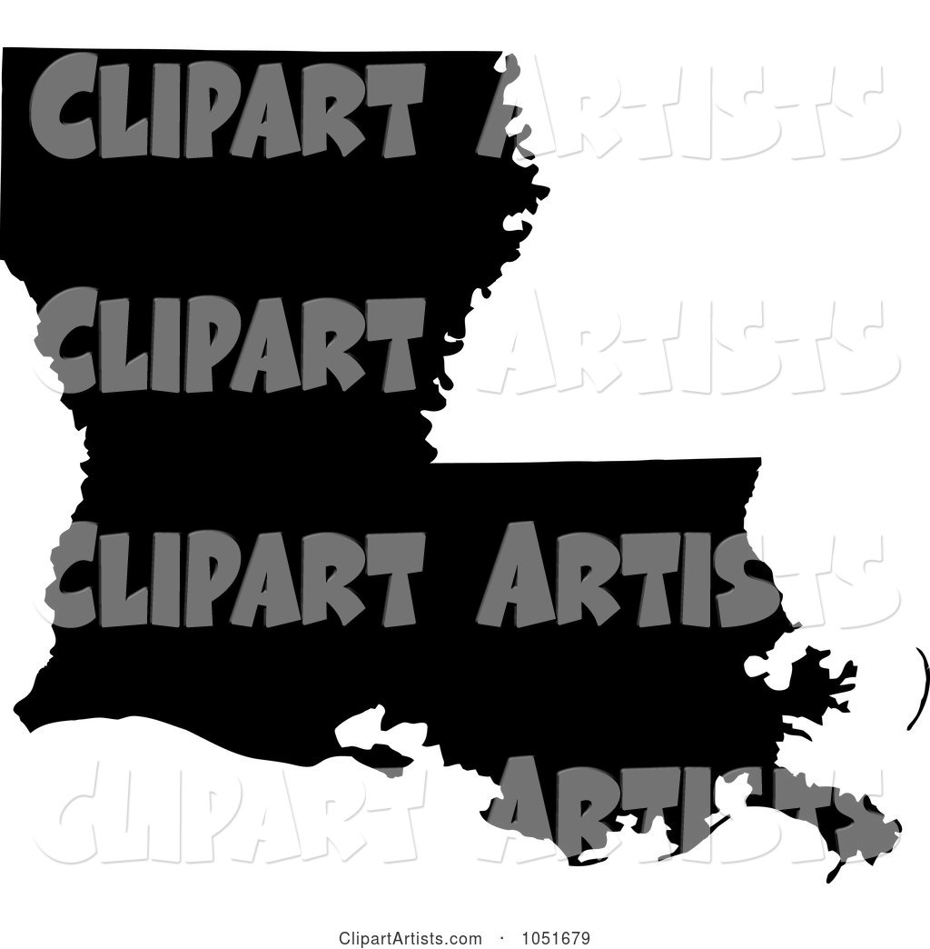 Black Silhouetted Shape of the State of Louisiana, United States