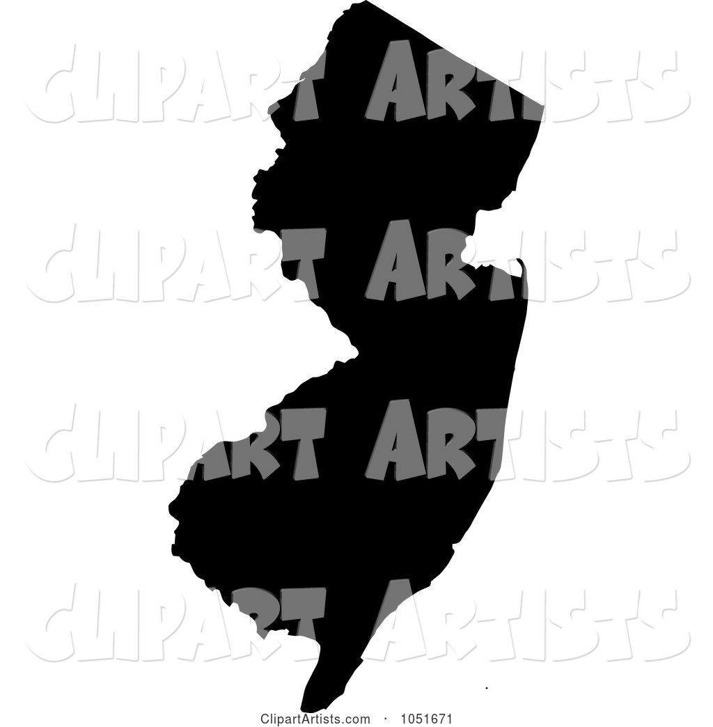 Black Silhouetted Shape of the State of New Jersey, United States