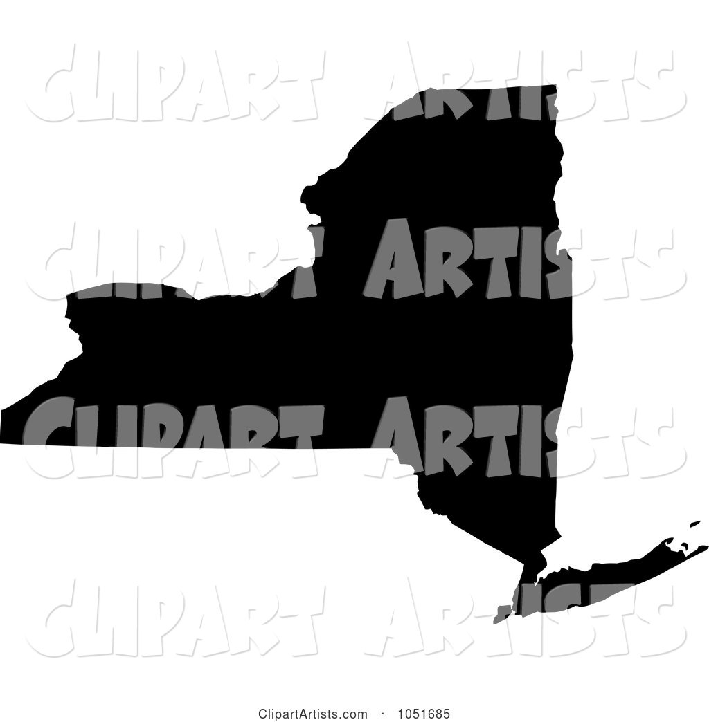 Black Silhouetted Shape of the State of New York, United States