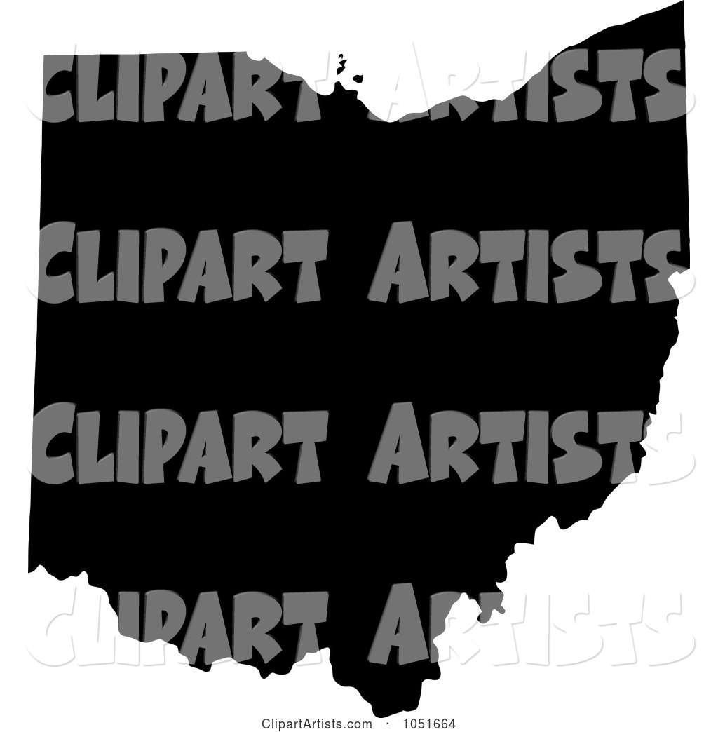Black Silhouetted Shape of the State of Ohio, United States