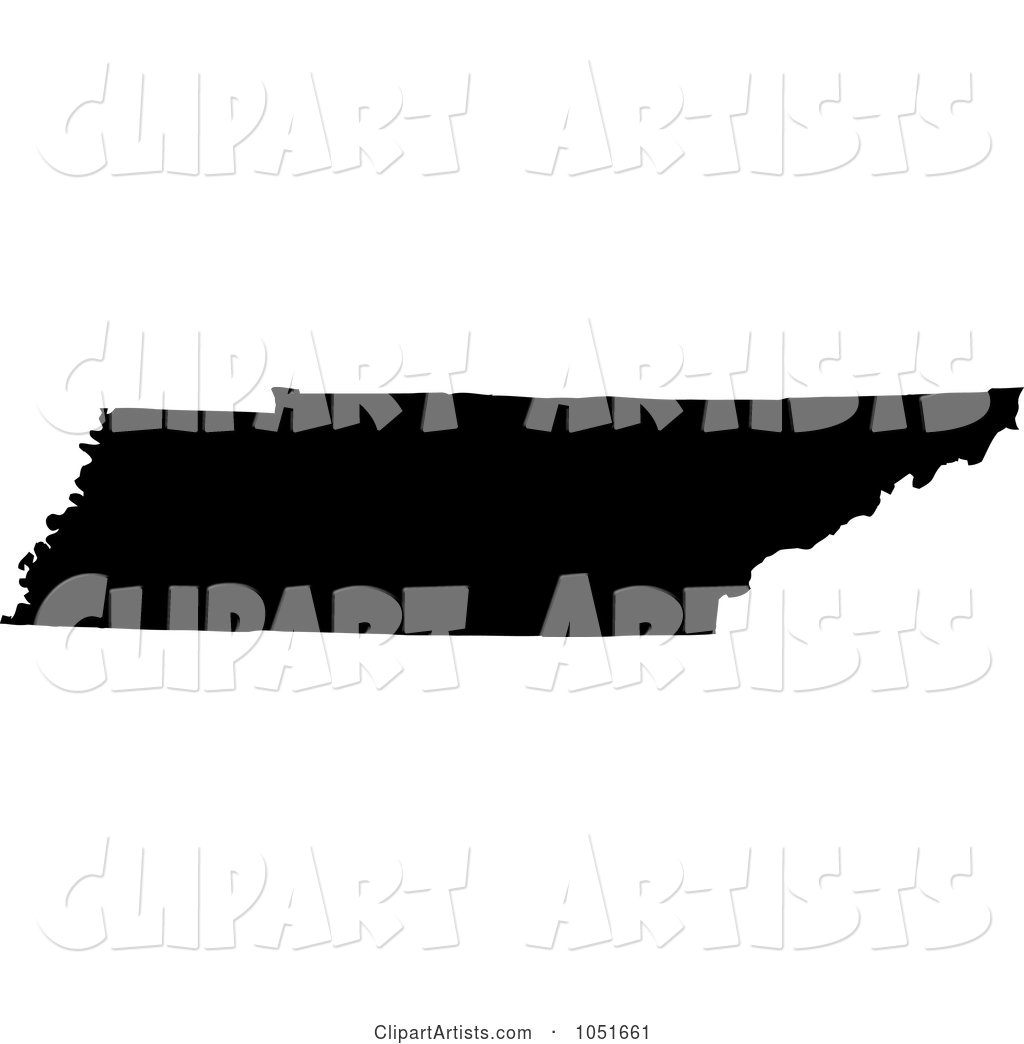 Black Silhouetted Shape of the State of Tennessee, United States