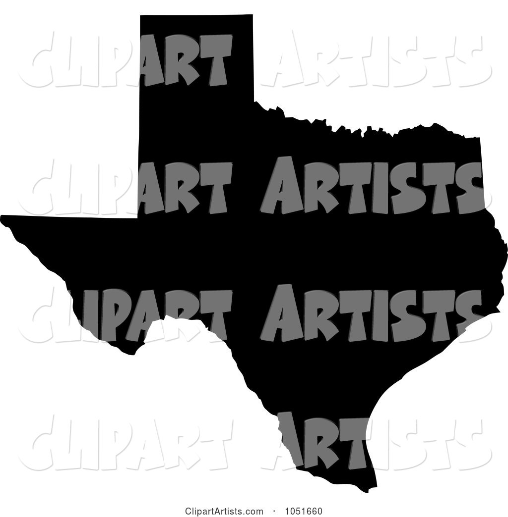 Black Silhouetted Shape of the State of Texas, United States