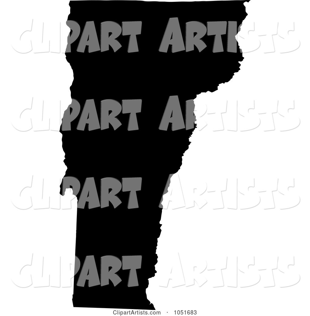 Black Silhouetted Shape of the State of Vermont, United States