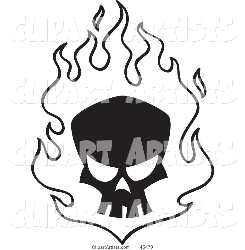 Black Skull in White Flames