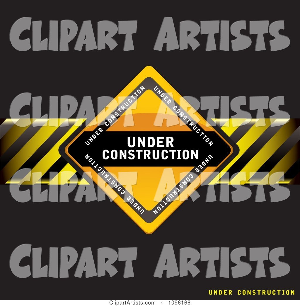 Black Under Construction Background with a Sign and Hazard Stripes