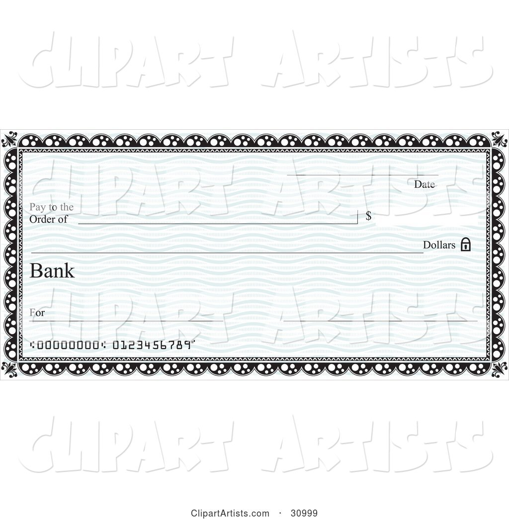 Blank Bank Cheque with Blue Waves and a Black Border